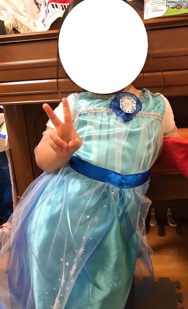 アナ雪エルサドレスを娘が着用